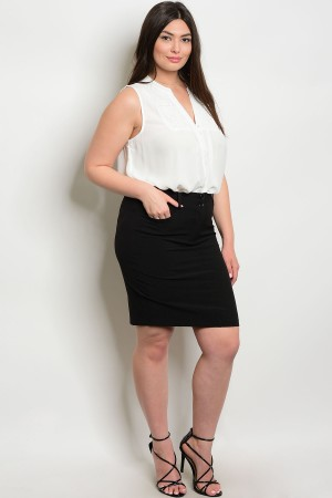 109-1-3-S92551X BLACK PLUS SIZE SKIRTS 3-2-1