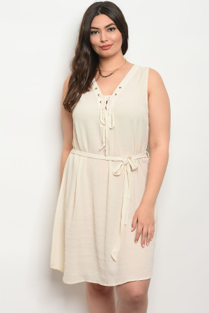 S10-17-3-D4599X OATMEAL PLUS SIZE DRESS 2-2-2