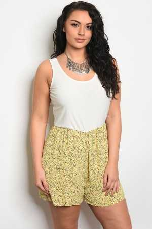 C64-A-6-J4523X IVORY YELLOW WITH FLOWERS PLUS SIZE ROMPER 2-2-2