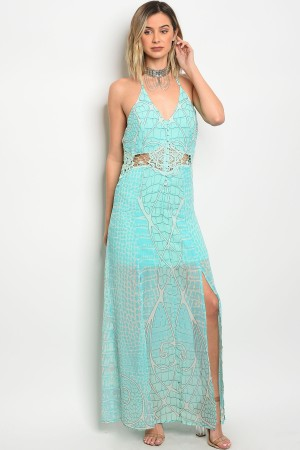 S15-1-4-D1016 MINT BLUE CROCHET DRESS 2-2-2