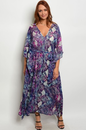 105-4-1-D182812X BLUE MULTI PLUS SIZE DRESS 2-2-2