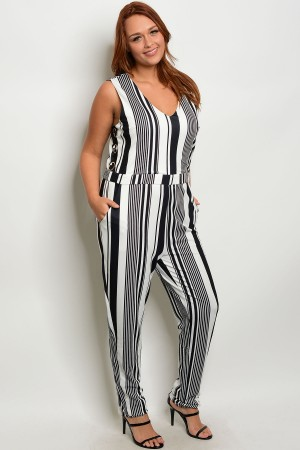 113-3-2-R181961X BLACK WHITE PLUS SIZE ROMPER 2-2-2