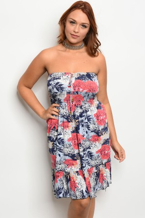 C1-A-5-D4044X CORAL NAVY BLUE PLUS SIZE DRESS 2-2-2