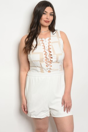 105-6-1-RPL100235RPP2 IVORY NUDE PLUS SIZE ROMPER 2-2-2