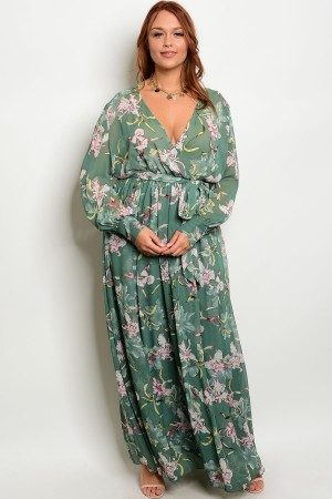 S12-8-5-D18220P6X EMERALD FLORAL PLUS SIZE DRESS 2-2-2