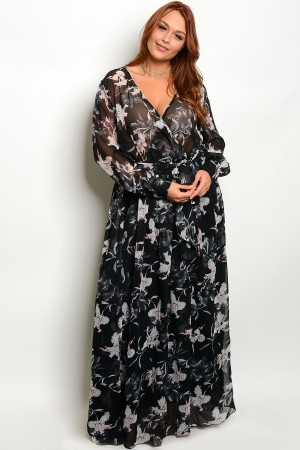 118-2-1-D18220P6X BLACK FLORAL PLUS SIZE DRESS 2-2-2