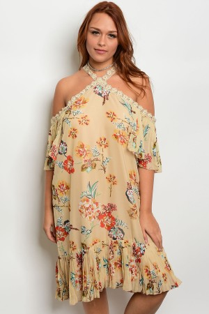 109-1-1-D5198X TAUPE FLORAL PLUS SIZE DRESS 2-2-2