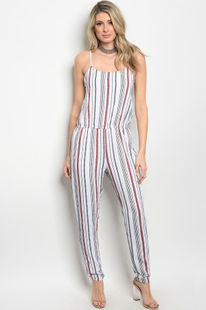 121-1-1-J9505 OFF WHITE RED STRIPES JUMPSUIT 2-2-2