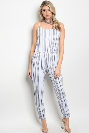 S2-7-5-J9505 OFF WHITE TAUPE STRIPES JUMPSUIT 2-2-2
