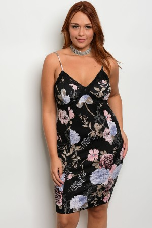 C66-A-5-D8016X BLACK FLORAL PLUS SIZE DRESS 2-2-2