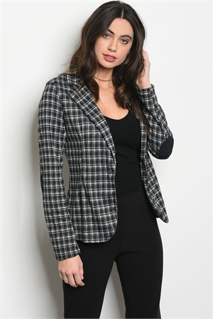 C18-A-3-J11937 BLACK WHITE GINGHAM JACKET 2-2-2