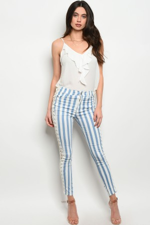 103-5-3-P1769 WHITE BLUE LACE-UP PANTS 2-2-2