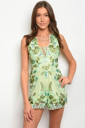 S3-6-4-R7174 GREEN WITH FLOWERS EMBROIDER ROMPER 3-2-1