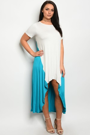 C34-A-2-D3160X IVORY TEAL PLUS SIZE DRESS 2-2-2