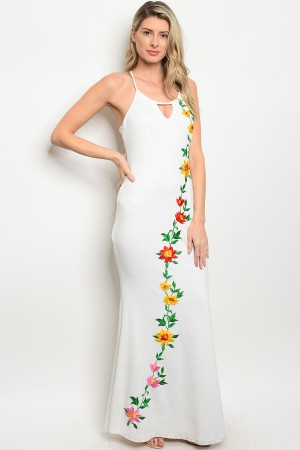 S5-2-2-D07088 WHITE WITH FLOWER PRINT DRESS 2-2-2