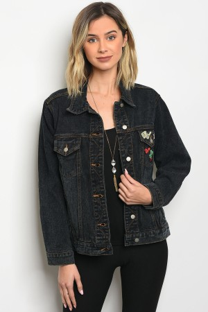 S12-4-2-NA-J0859 BLACK DENIM JACKET 3-2-1