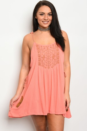 S5-2-3-D216X CORAL PLUS SIZE DRESS 2-2-2