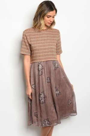 S5-3-2-D0076 TAUPE MOCHA DRESS 2-2-2