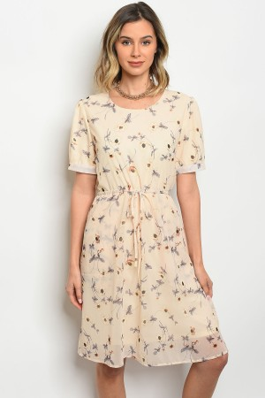 S5-3-2-D0127 CREAM WITH FLOWERS DRESS 3-2-1