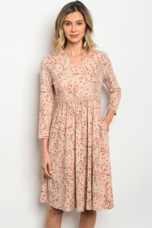 119-1-5-D0022 TAUPE WITH FLOWER DRESS 4-2-1