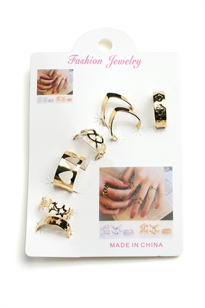 201-3-4-RN5245 MULTI SHAPE RINGS/12PCS