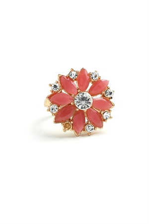 201-4-5-RN3757 FLOWER SHAPE MULTI STONE RINGS/12PCS