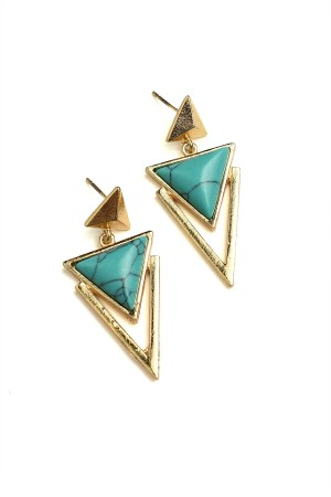 202-2-5-JER0536GSTQ TRIANGLE SHAPE GEM EARRINGS/12PCS