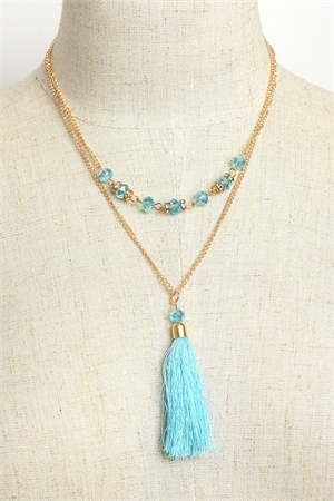 204-4-3-MS42441 STONE TASSEL DROP CHAIN NECKLACES/12PCS