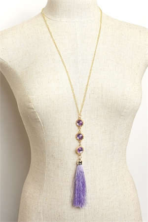 204-4-1-MS42464 TRIPLE STONE TASSEL CHAIN DROP NECKLACES/12PCS