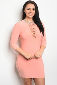 C13-A-D40131X PEACH PLUS SIZE DRESS 2-2-2