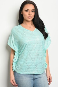 C60-B-4-T7885X MINT SILVER PLUS SIZE TOP 2-2-2