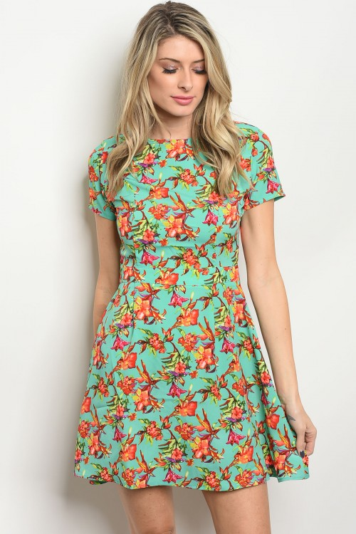 104-6-4-DR8409 MINT RED GREEN FLORAL PRINT DRESS 3-2-3