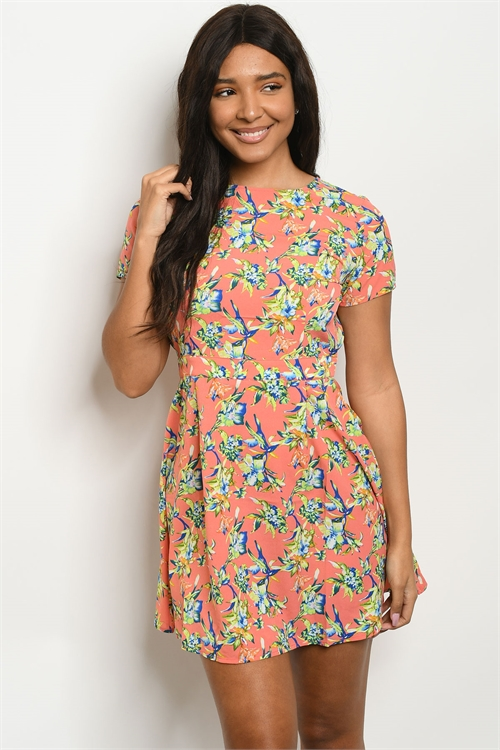 116-1-4-DR8409 CORAL BLUE GREEN FLORAL PRINT DRESS 1-1-1