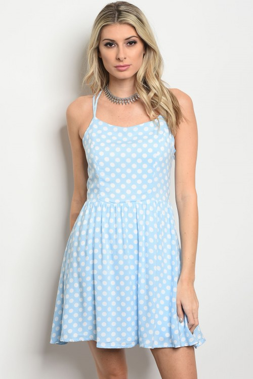 136-4-2-D410134 BABY BLUE WITH WHITE POLKA DOTS DRESS 3-1