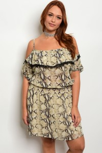 130-2-1-D6801X TAN SNAKE PRINT PLUS SIZE DRESS 2-2-2