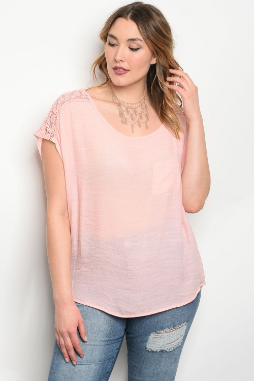 C14-B-1-T9197X PEACH PLUS SIZE TOP 1-2-2