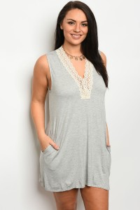 C87-A-4-D1307X HEATHER GRAY CREAM PLUS SIZE DRESS 2-2-2