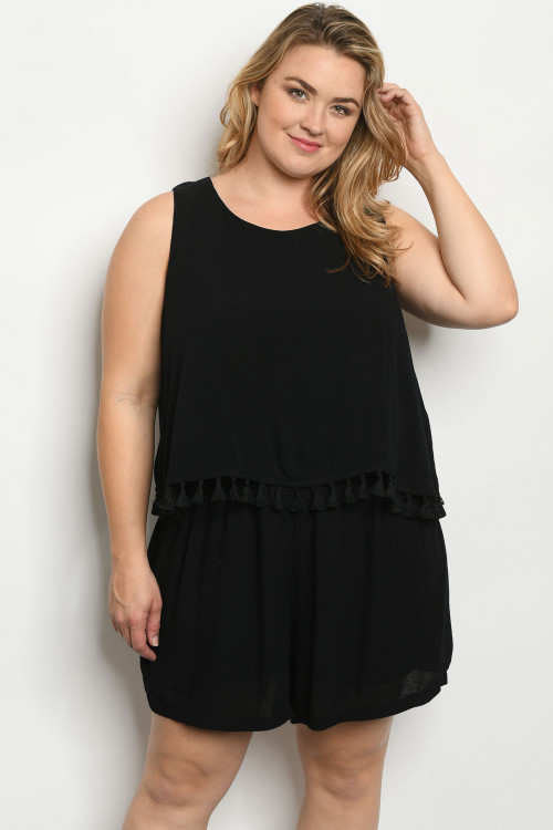 106-2-2-R4127X BLACK PLUS SIZE ROMPER 2-2-1