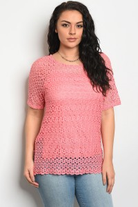 C92-B-6-T5810X PINK PLUS SIZE TOP 2-2-2