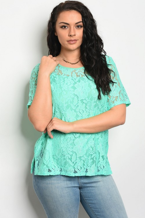 C90-B-5-T6586X MINT LACE PLUS SIZE TOP 2-2-2