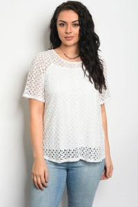 C94-B-7-T5811X OFF WHITE PLUS SIZE TOP 2-2-2