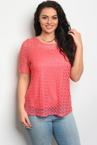 C90-B-5-T5811X CORAL PLUS SIZE TOP 2-2-2
