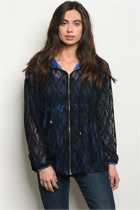 118-1-3-S65180 BLACK ROYAL LACE TIP UP JACKET 2-2-2