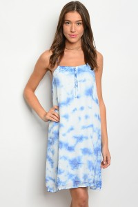 106-3-3-D2993 BLUE WHITE TIE DYE DRESS 2-2-2