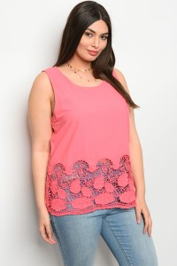 S9-1-2-T51166X CORAL PLUS SIZE TOP 2-2-2