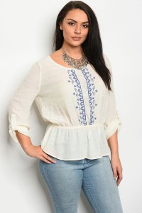 112-4-2-T1038X IVORY NAVY PLUS SIZE TOP 2-2-2