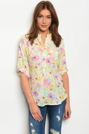 240-2-4-T332611 IVORY FLORAL TOP 2-2-2
