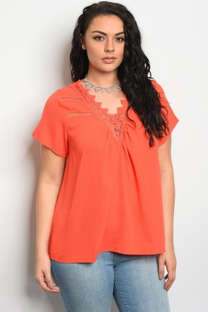 S13-8-1-T3266X ORANGE PLUS SIZE TOP 2-2-2