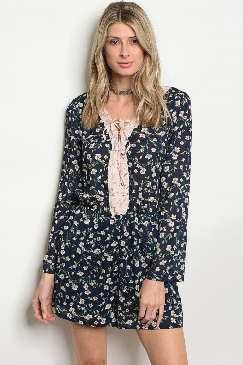 107-4-4-RP41344 NAVY WITH FLOWERS ROMPER 1-2-2