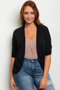 C55-A-3-C605X BLACK PLUS SIZE CARDIGAN 2-2-2